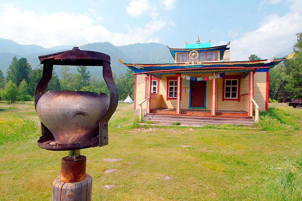 Altar in Datsan, Buddhist university monasteries, Arshan, Tunkinsky District, Republic of Buryatia, Siberia, Russian Federation
