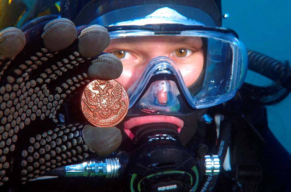 Underwater treasure, Russian coins of the Siberian stamping of times of empress Ekaterina II Lake Baikal, Siberia, Russian Federation