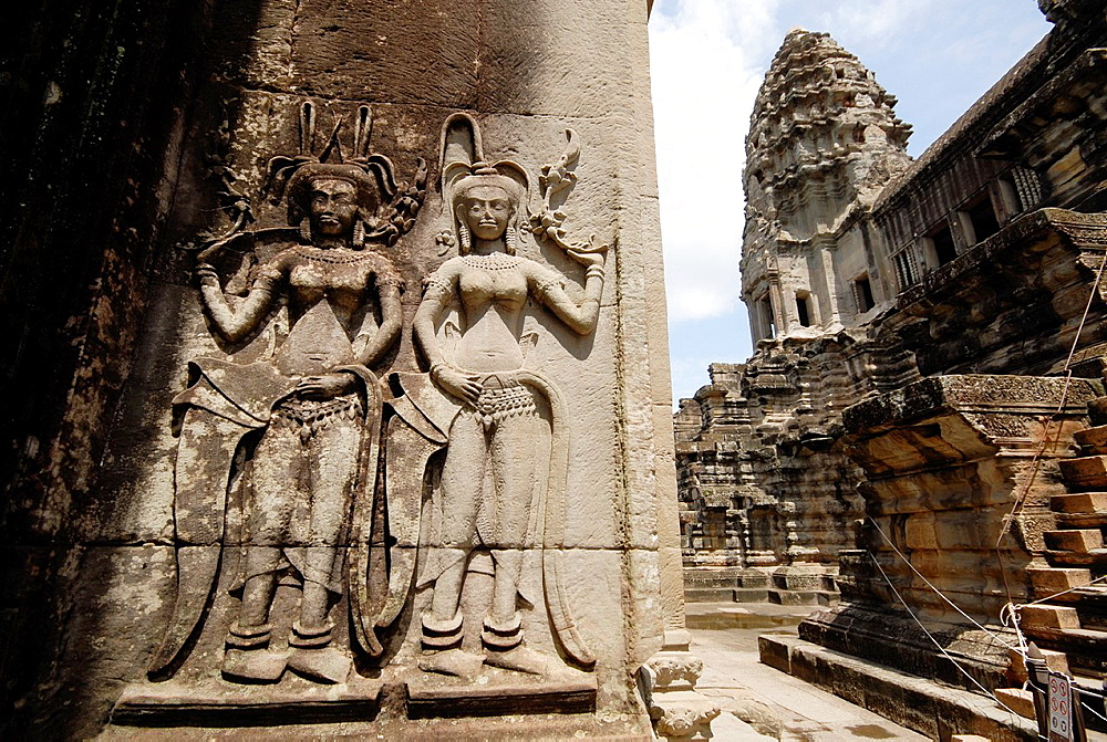 detail of decoration at wall in Angkor Wat, Cambodia