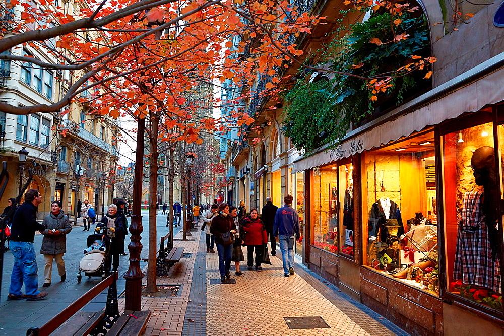 Christmas, Shopping, Buen Pastor cathedral, San Sebastian, Donostia, Gipuzkoa, Basque Country, Spain.