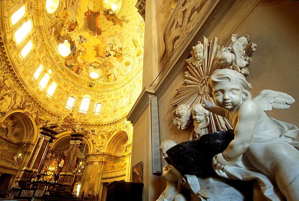 cherubs holding an holy water font and elliptical cupola's vault frescoed to honour the Virgin Mary, Sanctuary of Vicoforte, province of Cuneo, Piedmont region, Italy, Europe