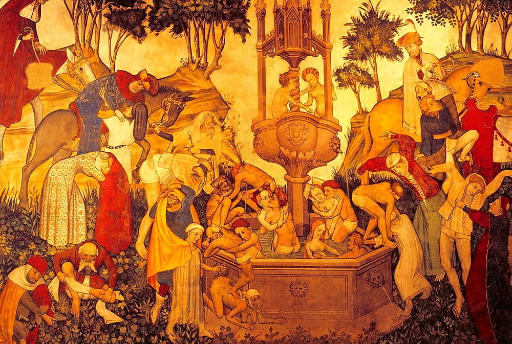 Nine Worthies fresco in the Baronial Hall, Castello della Manta, near Saluzzo, Piedmont region, Italy, Europe