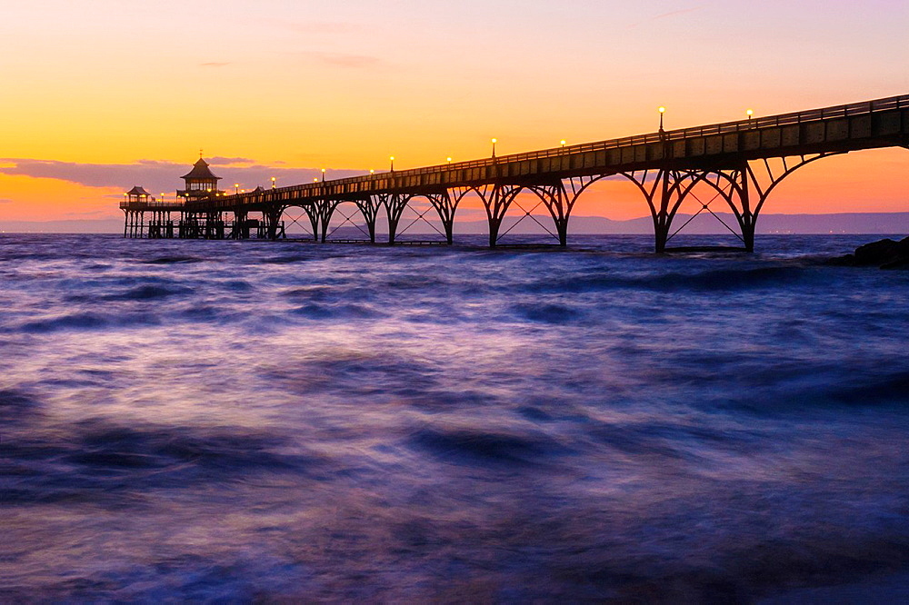 Clevedon Pier in the Bristol Channel at dusk, Somerset England