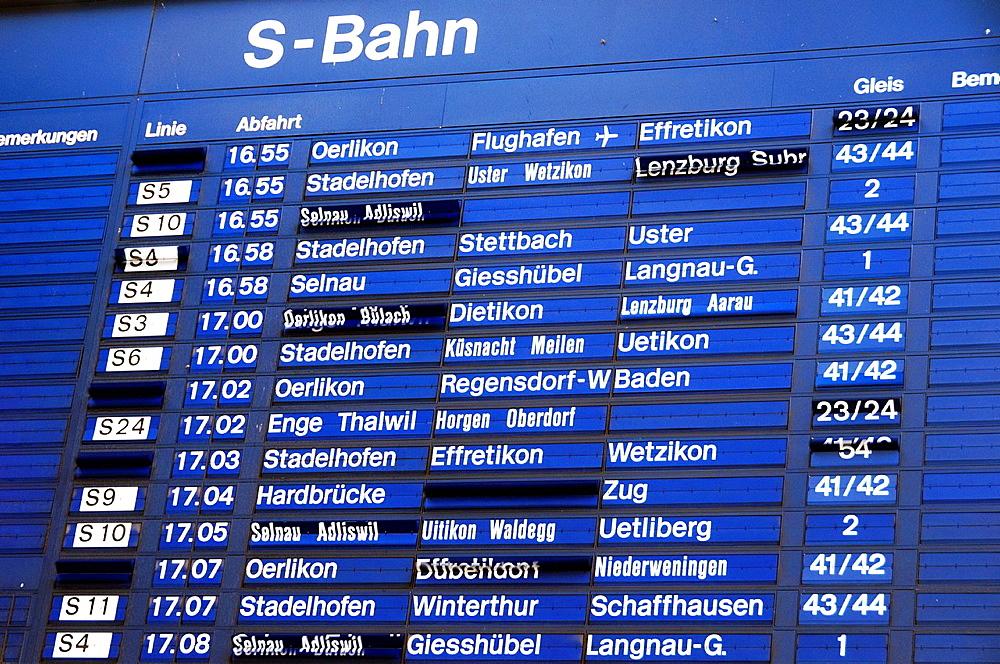 Timetable, station, Zurich, Switzerland