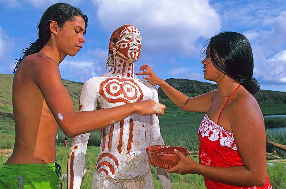 Tau'a Rapa Nui triathlon, body painting, Tapati Rapa Nui festival, Islander, Easter Island, Chile.