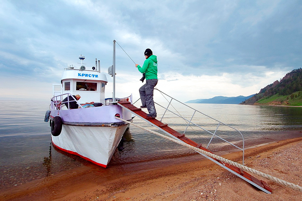 Walking boat, Bolshiye Koty big Koty, Lake Baikal, Irkutsk region, Siberia, Russian Federation