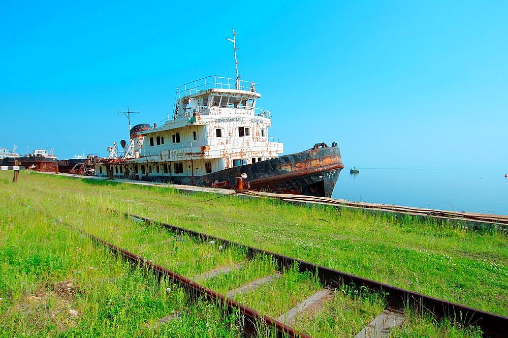 the old ship, the Komsomol member of Buryatiya, Circum-Baikal Railway, Lake Baikal, settlement Baikal, Siberia, Russia