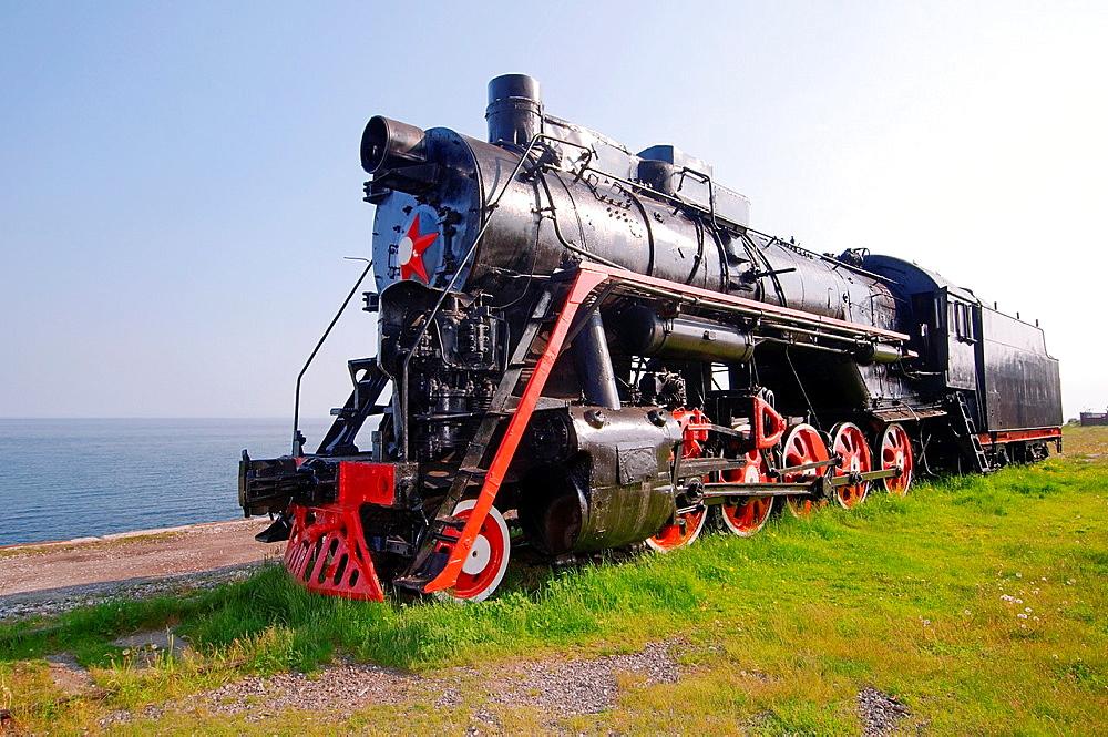old engine, Circum-Baikal Railway, Lake Baikal, Irkutsk region, settlement Baikal, Siberia, Russian Federation