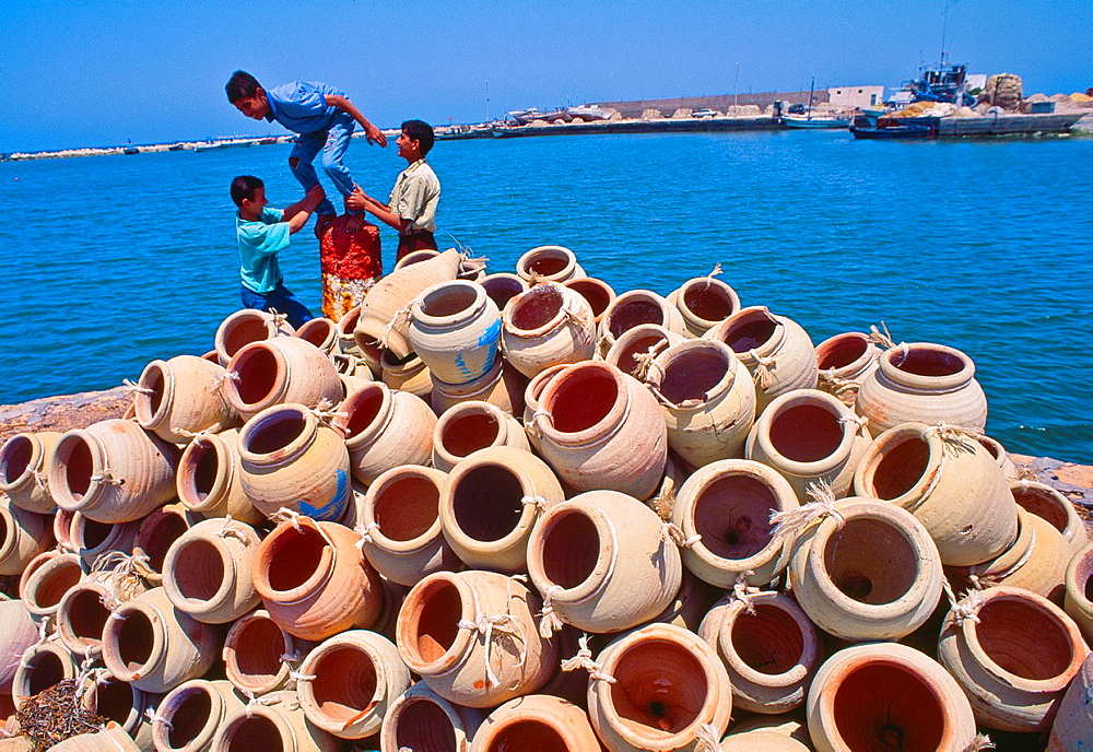 Harbour in Houmt Souk Amphora Octopus fishing Djerba island Southern Tunisia.