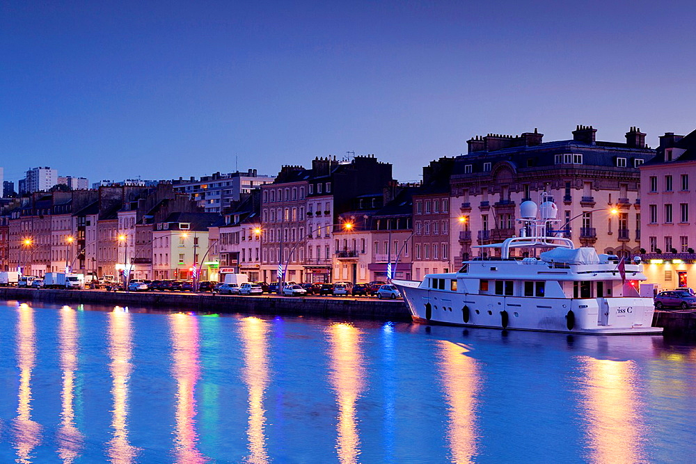 France, Normandy Region, Manche Department, Cherbourg-Octeville, yacht in the Bassin du Commerce basin, dusk