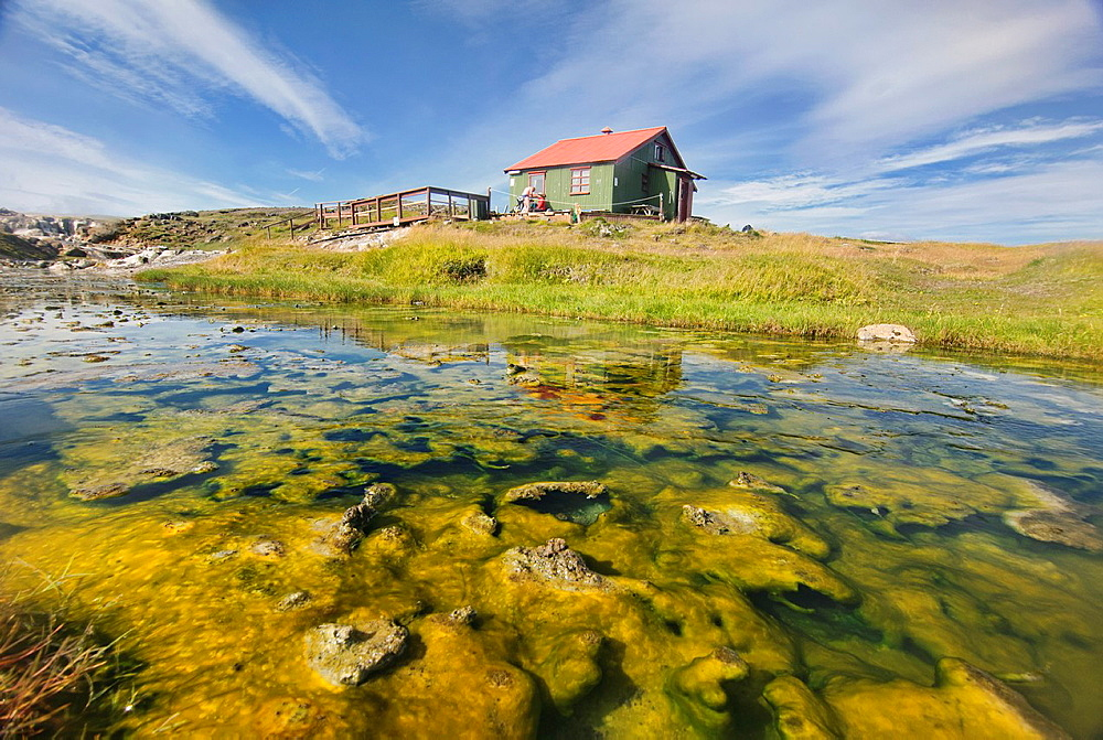 Geothermal hot springs at Hveravellir on the Kjolur Highland route in Iceland
