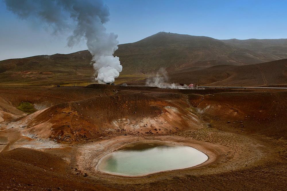 The Krafla volcanic crater near Lake Myvatn, Iceland