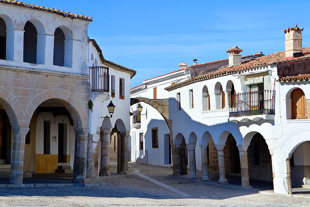 A typical corner in the famous main square of Garrovillas de Alconetar, one of the twelve main squares of Spain and declarated BIC Cultural Interest Goods Caceres province Spain