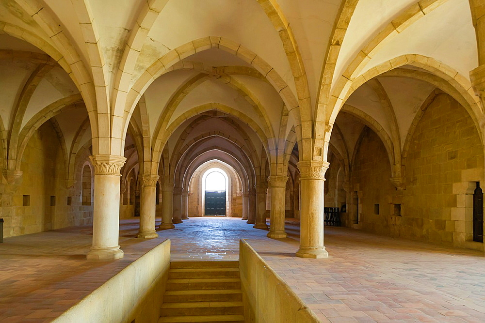 Dormitory, Interior of Mosteiro de Santa Maria de Alcobaca, Alcobaca Monastery, Alcobaca, Oeste, Leiria District, Portugal.