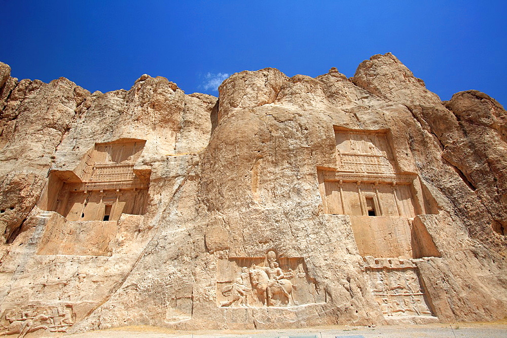 The tombs of the kings in the Naqsh-e Rostam necropolis near Persepolis, Iran