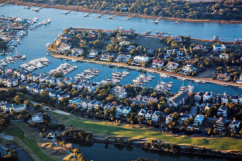 Aerial showing Wild Dunes marina on the Isle of Palms, South Carolina