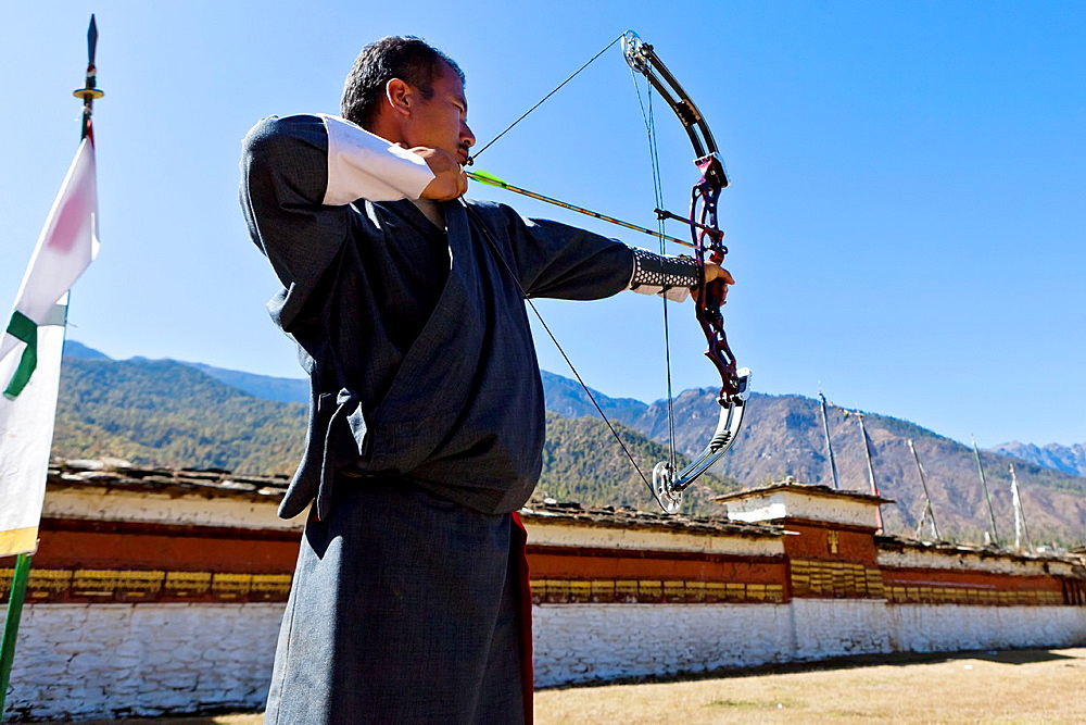 Archery, Bhutan's national sport, Paro, Bhutan, Asia.