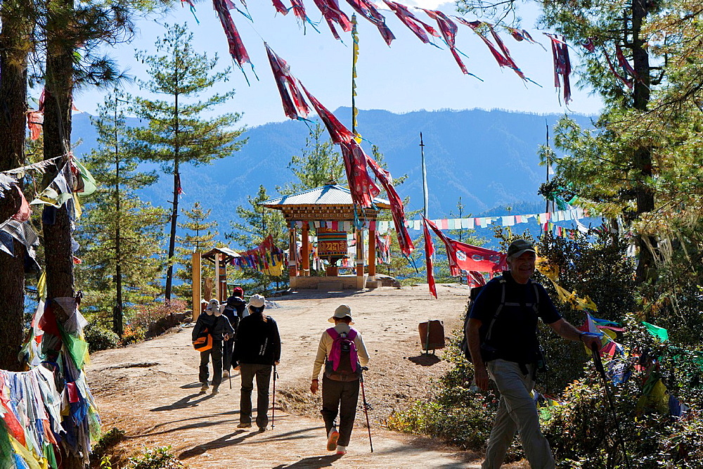 Trekking to the Taktsang Monastery Tiger's Nest, Paro Valley, Bhutan, Asia.