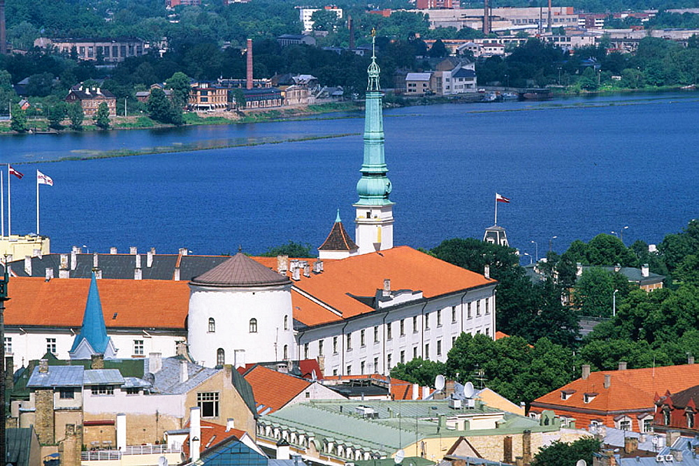Riga castle, view on old town from St, Peter's church tower, Riga, Latvia