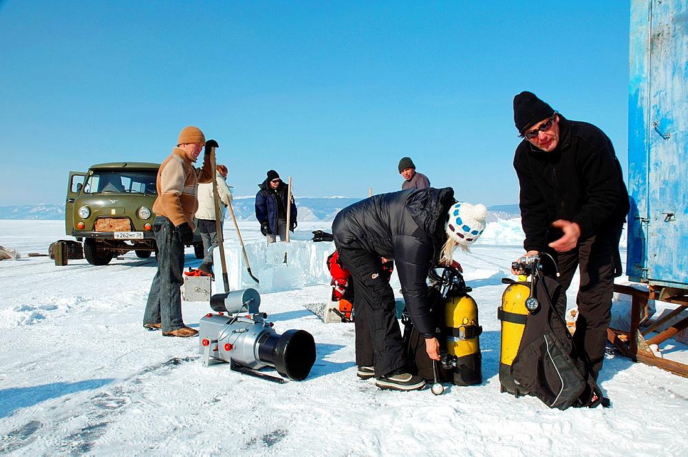 underwater video-operator Didier Noirot, in lake Baikal, Siberia, Russia, island Olkhon