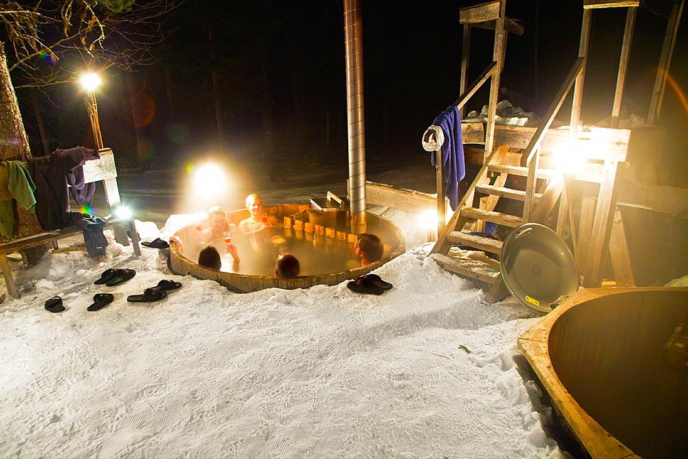 Sauna and jacuzzi in the snow Vithatten Skelleftea Vasterbotten, Lapland, Sweden, Scandinavia. - 817-426128