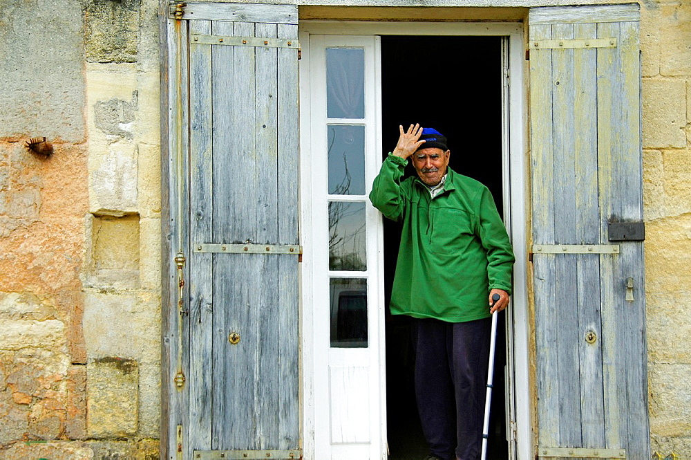 France, Aquitaine, Gironde, Boutaieb, an old farmer, at Sainte Terre.