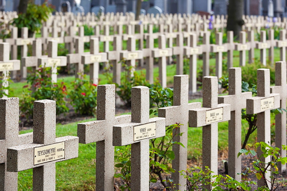 France, Nord-Pas de Calais Region, Nord Department, French Flanders Area, Dunkerque, National Military Cemetery, graves of World War One soldiers