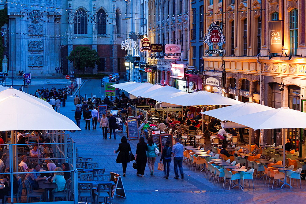 France, Nord-Pas de Calais Region, Nord Department, French Flanders Area, Lille, Grand Place-Place General de Gaulle, cafes and crowds, dusk, NR