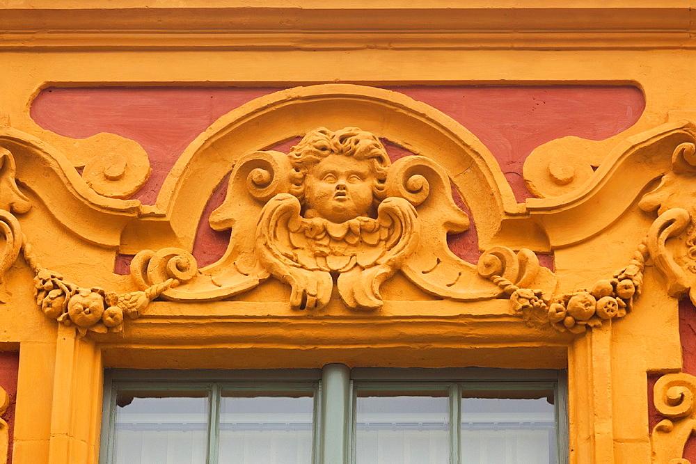 France, Nord-Pas de Calais Region, Nord Department, French Flanders Area, Lille, rue de la Monnaie building detail