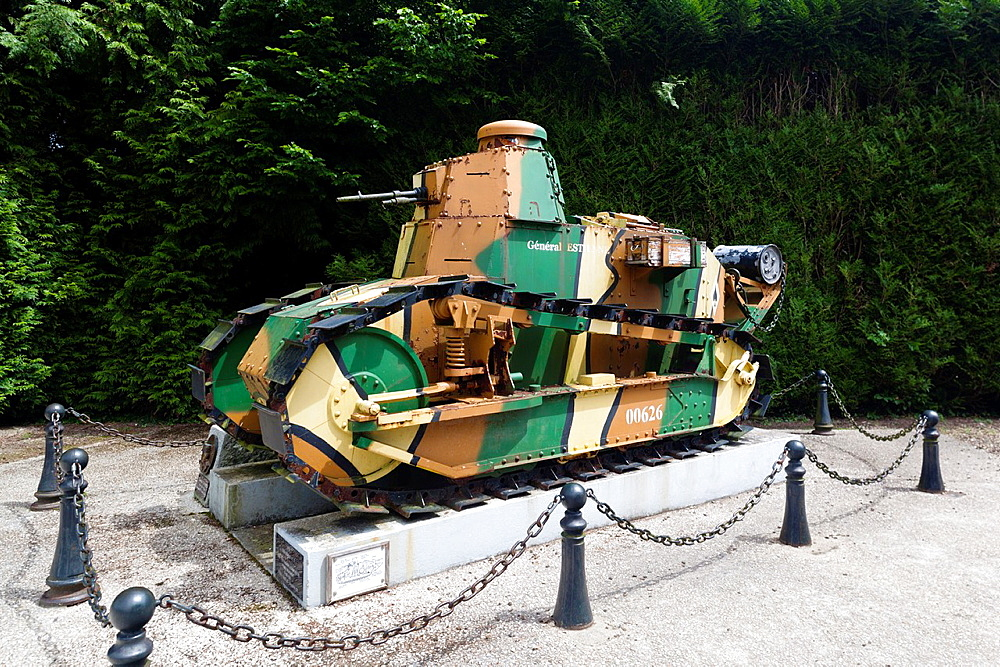 France, Picardy Region, Oise Department, Compiegne, Clairiere del Armistice, site of the signing of the World War One armistice, 1918, French Renault FT17 tank