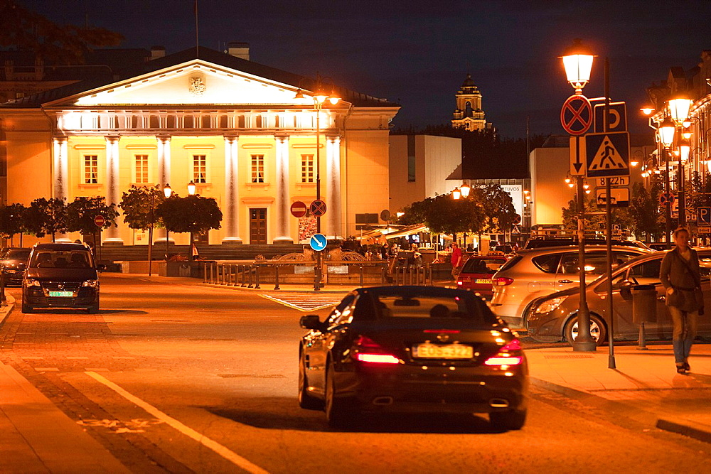 Vilnius The Old Town The Town Hall Square by night