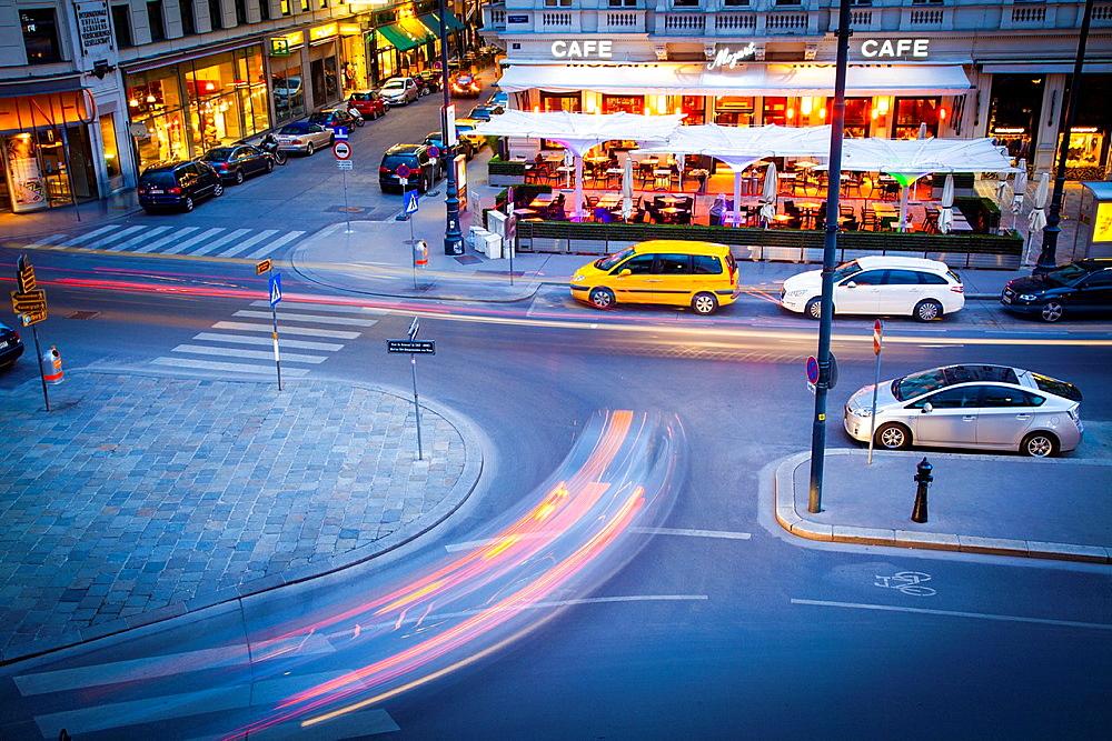 Street night view in Albertplatz, Vienna, Austria