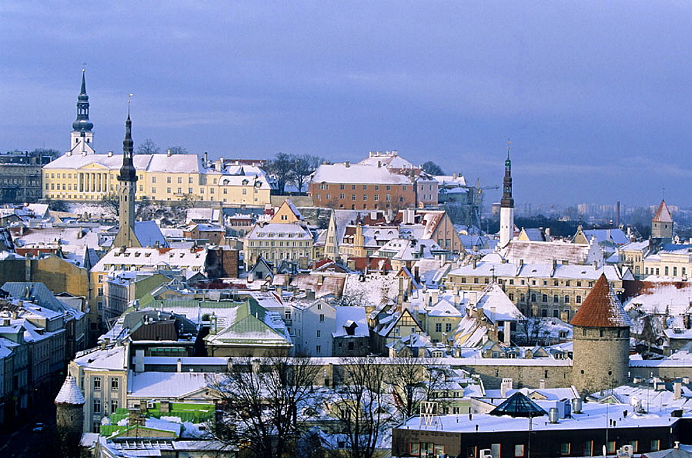 Town Hall tower, old town from Toompea, Tallinn, Estonia - 817-42692