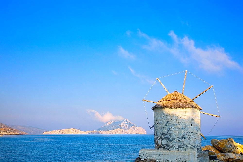 greece, cyclades, amorgos, mill in the port of Egiali