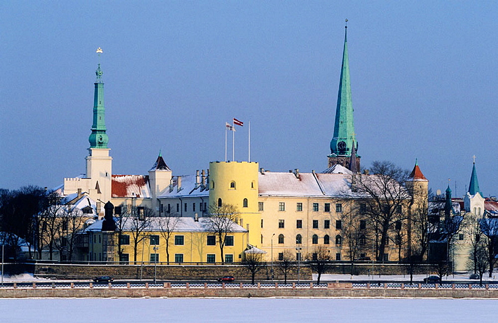 Riga castle in old town from Vansu bridge on Daugava river, Riga, Latvia