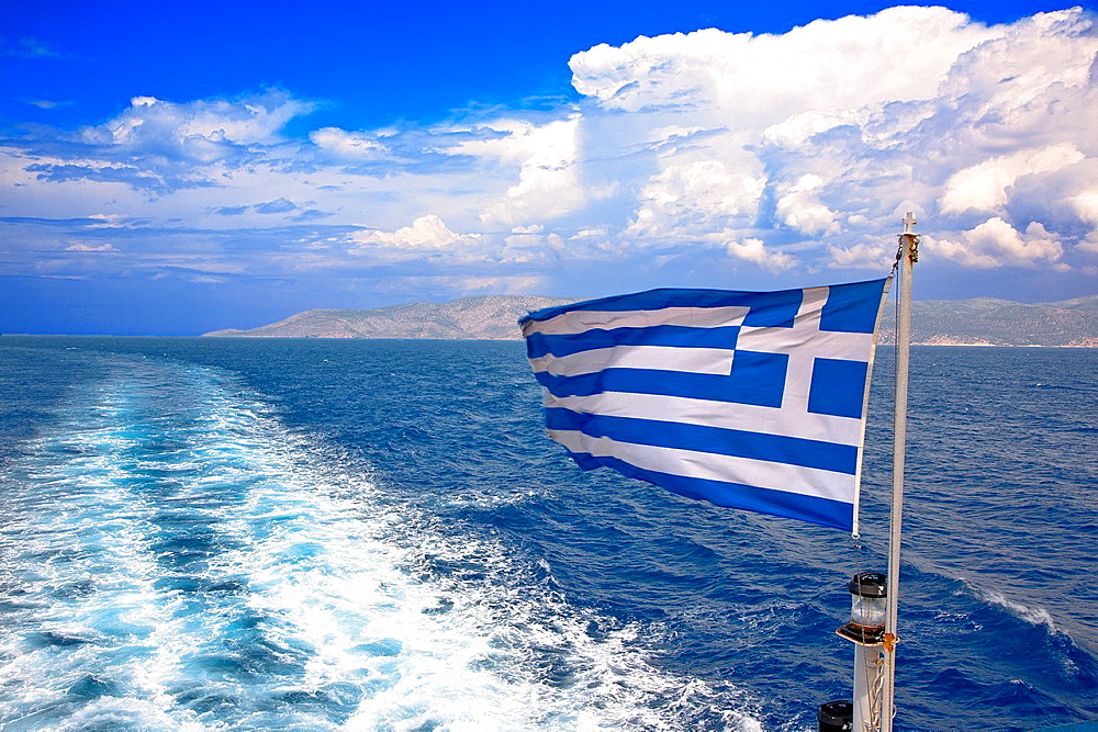 greece, cyclades, Aegean, Greek flag in the wind