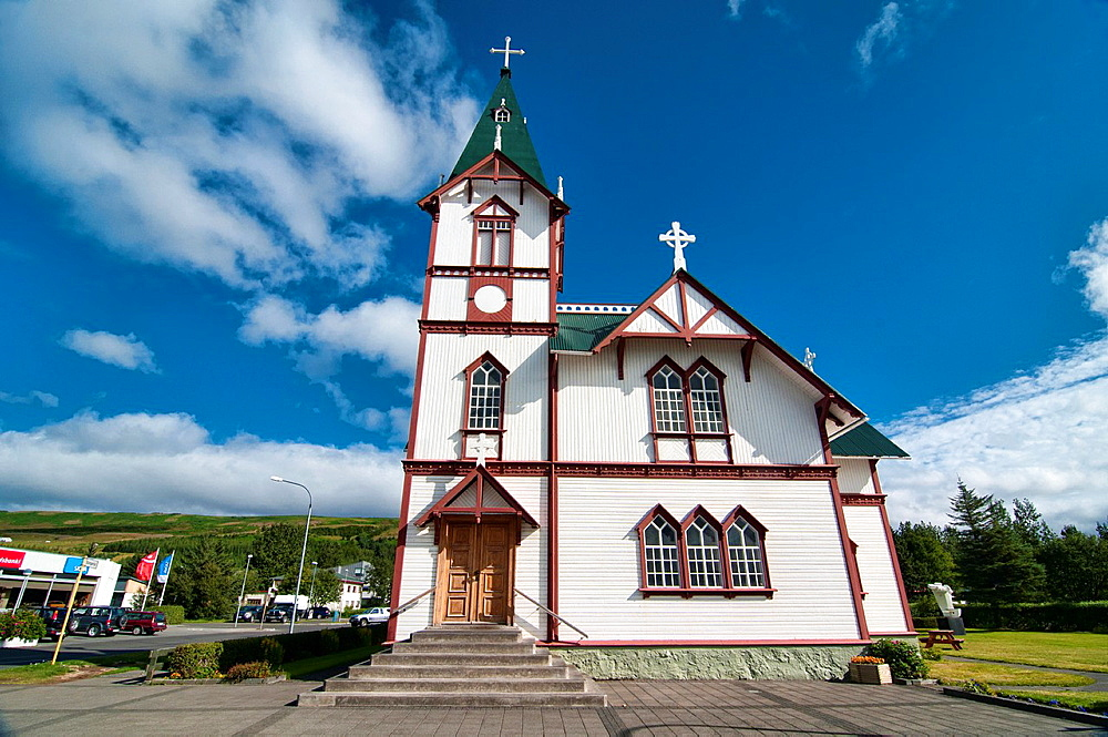 the old church in Husavik, the whale watching capital of Iceland
