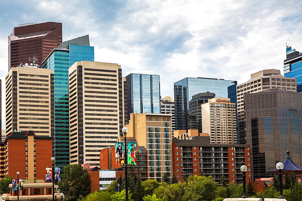 Skyline of Calgary in Alberta, Canada