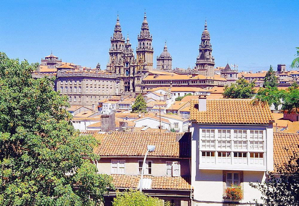 Overview from La Herradura gardens. Santiago de Compostela, La Coruna province, Galicia, Spain.
