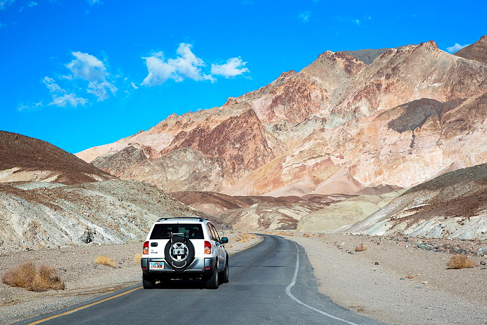 Death Valley National Park, California, Artists Drive, a scenic road through colorful volcanic and sedimentary hills
