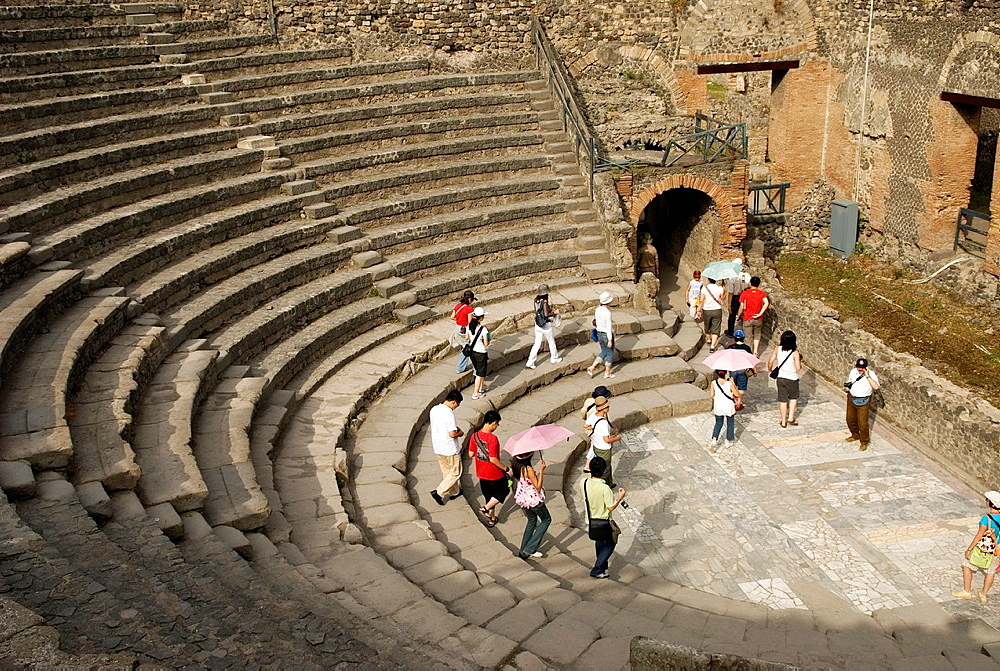 Small Theatre or Odeon, archeological site of Pompeii, province of Naples, Campania region, southern Italy, Europe