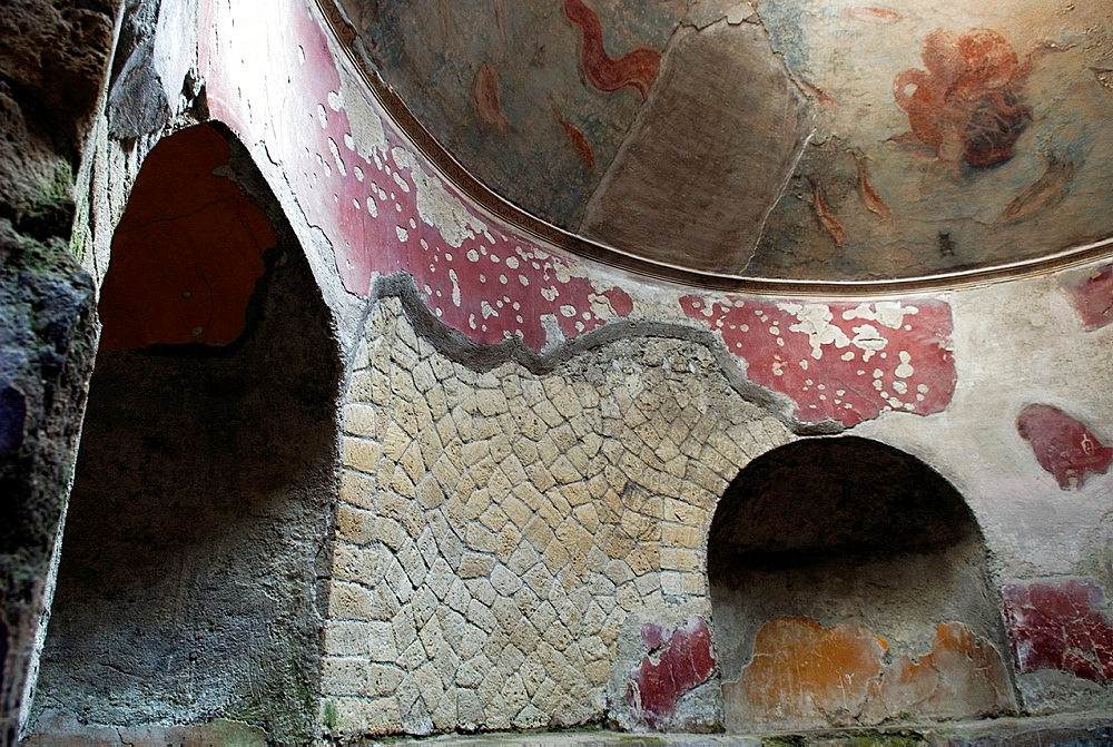 Frigidarium, cold bathroom inside the Thermae for men, archeological site of Herculaneum, Pompeii, province of Naples, Campania region, southern Italy, Europe