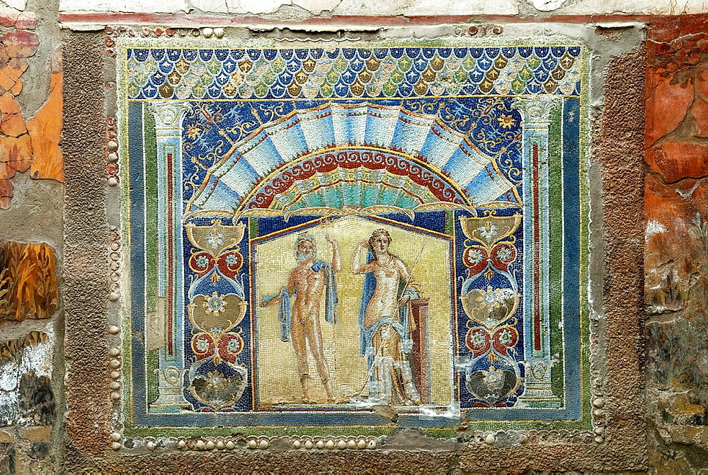 summer triclinium, dining-room, decorated with mosaic employing colored glass or opus musivum, House of Neptune and Amphitrite, archeological site of Herculaneum, Pompeii, province of Naples, Campania region, southern Italy, Europe