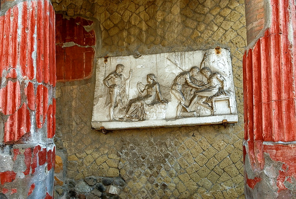 relief of Telephus, son of Hercules, who was the mythical founder of Herculaneum, Casa del Rilievo di Telefo, House of the Relief of Telephus, archeological site of Herculaneum, Pompeii, province of Naples, Campania region, southern Italy, Europe