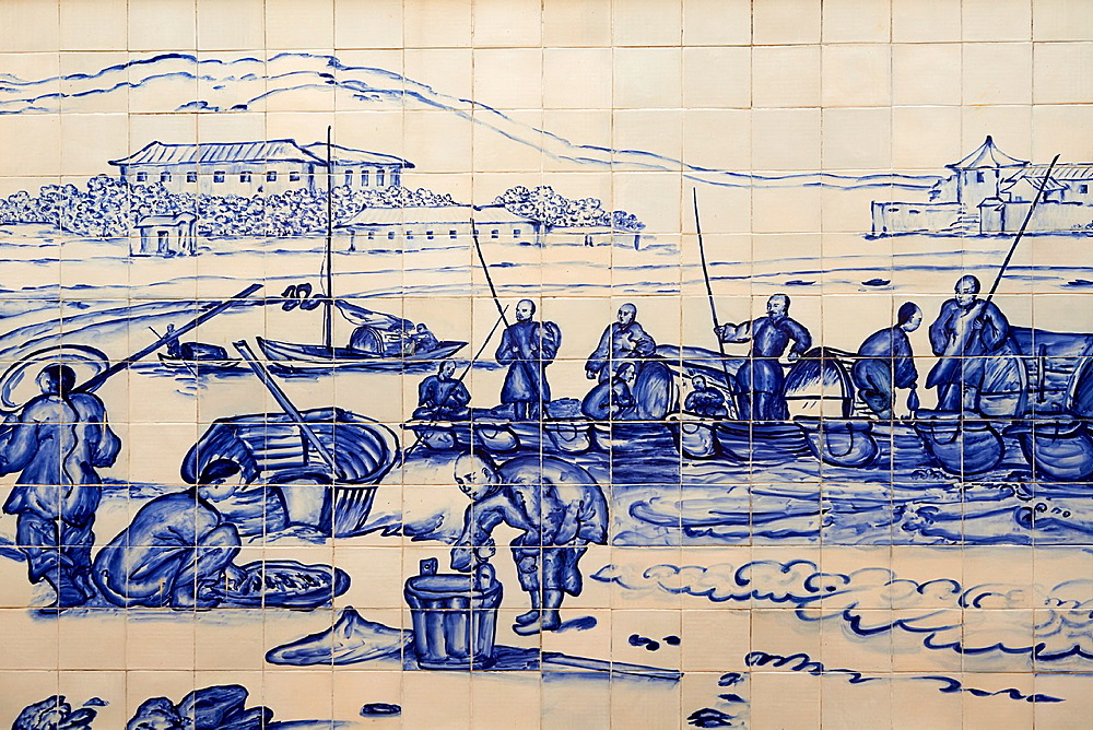 China, Macau, Tiles on the Traversa do Meio, Praia Grande with fishermen from Georges Chinnery, 1837