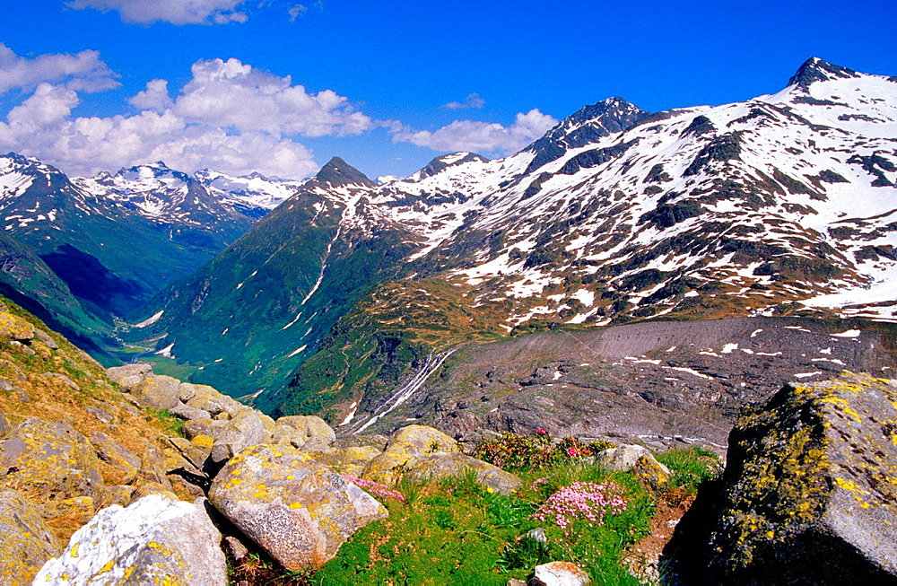 View of the alpine valley, Venediger group, Hohe Tauern National Park, Austria
