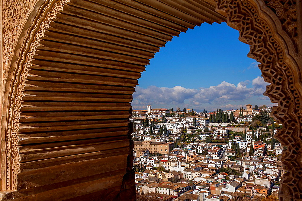 Albaicin and Sacromonte quarters from the Nazaries palaces, in Alhambra Granada Spain