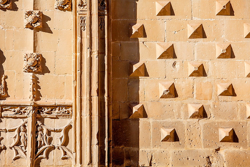 Facade detail, Palacio de Jabalquinto 16th century, Baeza Jaen province, Andalusia, Spain