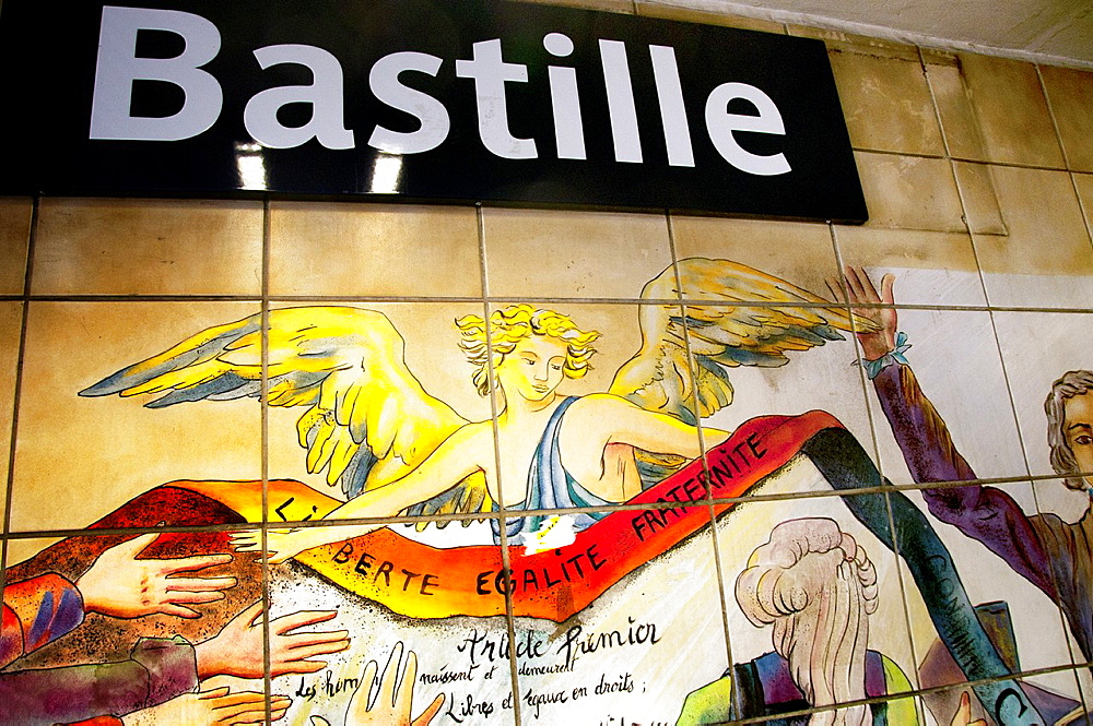 Liberte, Egalite, Fraternite, Liberty, Equality, Fraternity, symbolic words of French Revolution, historical ceramic mosaics on the walls of Bastille subway station in Paris, France