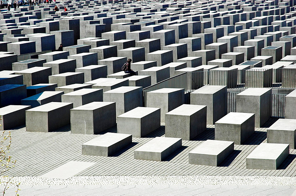 Visitors at Monument to the Murdered Jews of Europe, Berlin, Germany